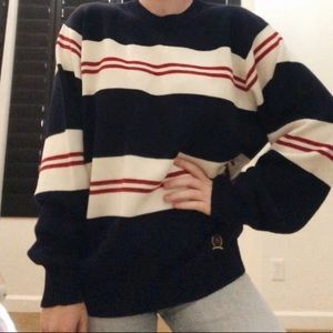 Tommy Hilfiger Red White and Blue Striped Sweater